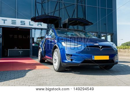 TILGURG, NETHERLANDS - SEPTEMBER 25, 2016: TESLA MODEL X. Tesla Motors Assembly Plant in Tilburg, Netherlands.