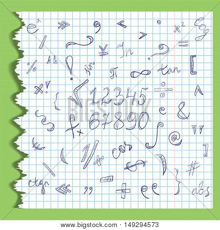 Hand Drawn Scribble Mathematics Symbols and Numbers on a Ripped Sheet of Copybook in a Cage. Doodle Style. Vector Illustration.