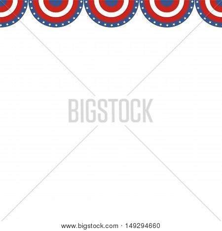 USA patriotic buntings flag. Seamles US flag round bunting decoration.