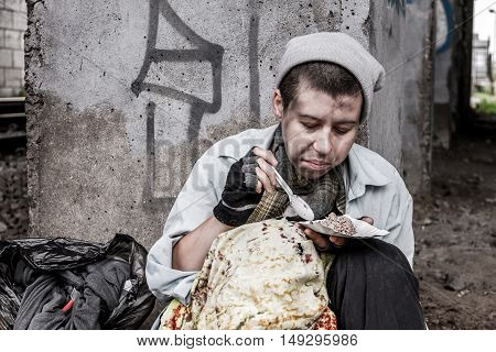 Homeless Woman Eating