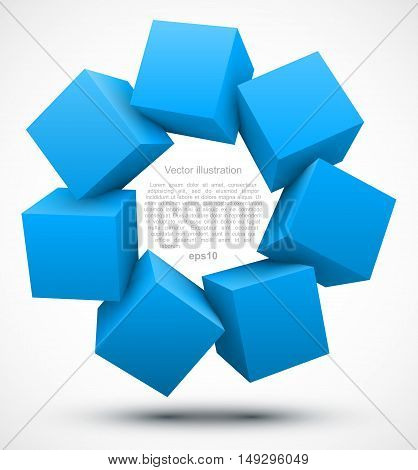 Blue cubes on white background. Vector Illustration EPS 10