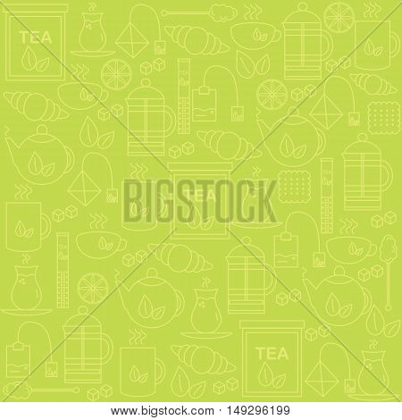 Background with tea icons. The pattern for your product or company. Vector illustration.