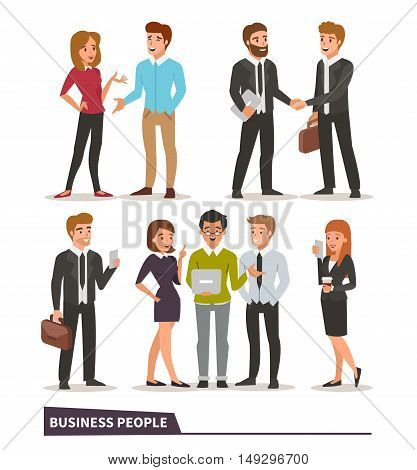 Business characters collection. Talking colleagues business handshake teamwork business people with gadgets. Vector illustrations.
