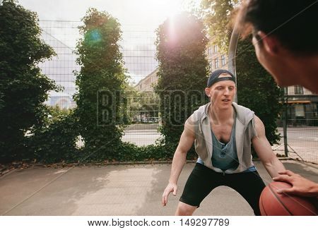Two Streetball Players On The Basketball Court