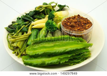 steamed fresh vegetables with a spicy sauce