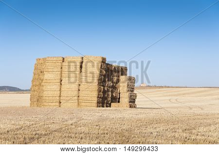 Bales of hay in an agrarian landscape in Ciudad Real Province Spain