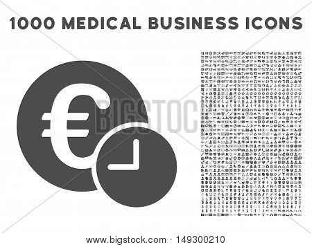 Gray Euro Credit icon with 1000 medical business glyph design elements. Collection style is flat symbols, gray color, white background.