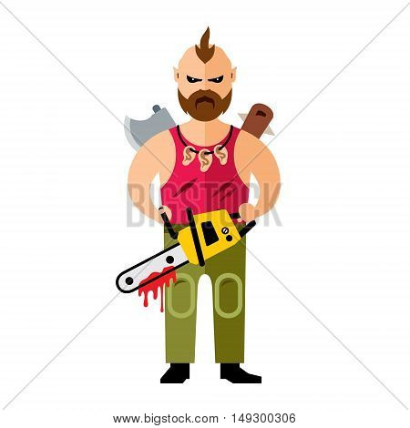 A man holding a chainsaw. Isolated on a white background