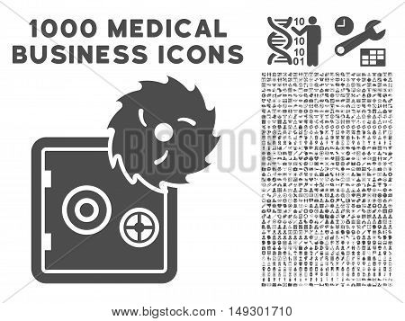 Gray Hacking Theft icon with 1000 medical business glyph pictographs. Set style is flat symbols, gray color, white background.