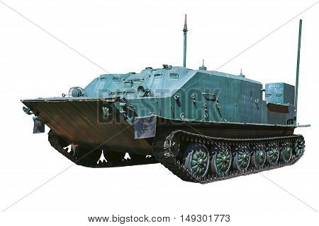 Armored military vehicles on tracks on a white background. History of the second world war.