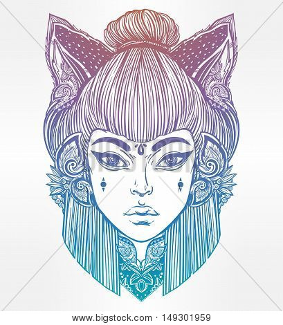Japanese beautiful half animal half human shapeshifter demon kitsune. Woman with cat or fox ears portriat. Magic, spirituality, occultism, tattoo art, coloring books. Isolated vector illustration.
