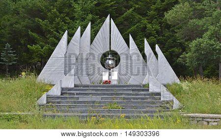 A communist-era war memorial to the dead partisans of World War Two in Trubjela in Montenegro.