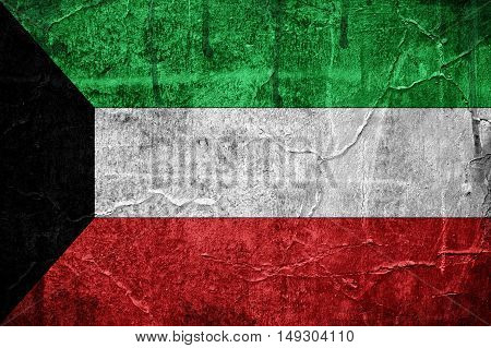 Flag of Kuwait image is overlaid with grunge texture