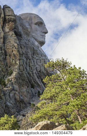 The face of George Washington on Mount Rushmore.