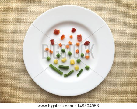 Plate of very few vegetables. Dieting concept.
