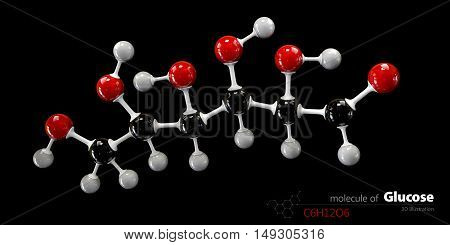 3d Illustration of Colorized Glucose molecule. Glucopyranose.