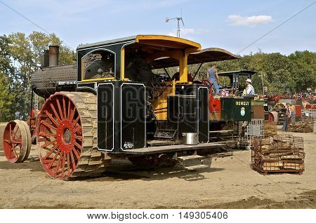 ROLLAG, MINNESOTA, Sept 1. 2016: Unidentified operators work on their engines at the West Central Steam Threshers Reunion in Rollag, MN attended by 1000's held annually on Labor Day weekend.