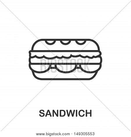 Sandwich icon or logo line art style. Vector Illustration.