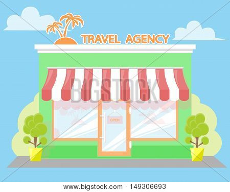 Facade travel agency. Signboard with emblem palms awning and symbol in windows. Concept front shop for design banner or brochure. flat design. Vector illustration isolated on white background