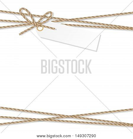 Abstract white background with tag label tied up with rope bakers twine bow and ribbons