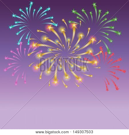 Shinning Colorful Starry Fireworks on Night Sky. Vector Illustration.