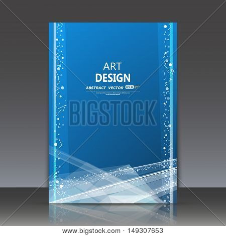 Abstract Composition, Polygonal Icon, Blue Sky Theme, A4 Brochure Title Sheet, Alien Space Backdrop,