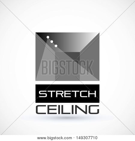 Stretch ceiling gray logo concept geometric symbol suspended ceiling