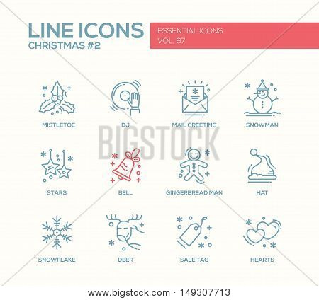 Christmas and New Year - set of modern vector simple line design icons and pictograms. Mistletoe, dj, mail greeting, snowman, stars, bell, gingerbread man, hat, snowflake, deer, sale tag hearts
