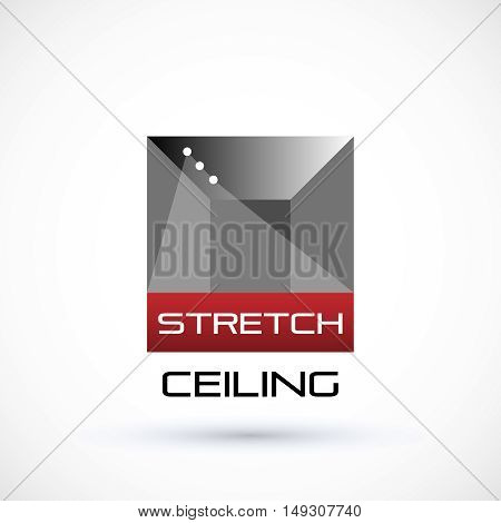 Stretch ceiling logo concept gray and red geometric symbol suspended ceiling