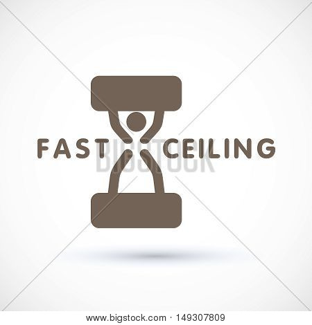 Stretch ceiling logo concept hourglass clock symbol suspended ceiling