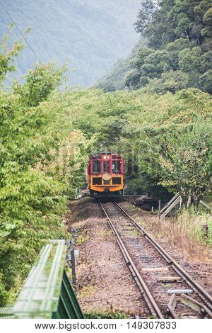 Holiday in Japan - Summer Autumn Transit in Arasiyama Station to Romantic Scenic Train