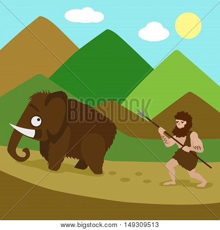 Primeval man hunted mammoths. Colorful hand drawn cartoon vector illustration