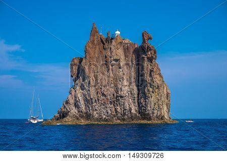 Italy, Sicily, Aeolian Islands, Stromboli, Strombolicchio Rock