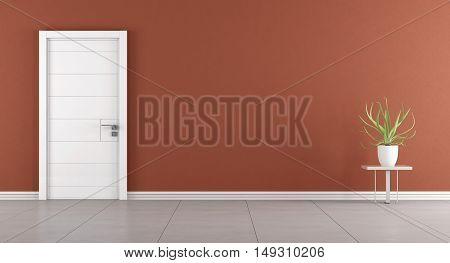 Modern Room With Closed Door