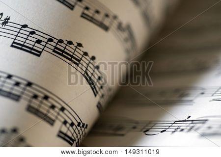 music sheet, macro photo