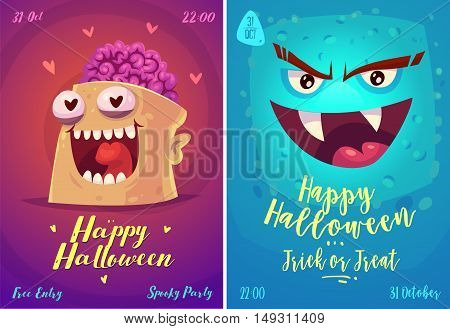 Halloween illustration vampire and zombie. Vector set of happy halloween vintage badges, logos emblems and labels. Vector stock illustration.