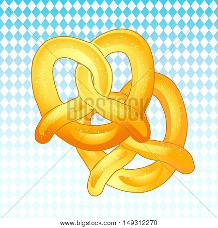 Two Pretzels isolated on blue Bavarian flag background. Hand Drawn. Vector Illustration. Oktoberfest traditional beer festival in Germany. Food, a crisp biscuit baked in the form of a knot flavored with salt.