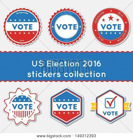 Us Election 2016 Stickers Collection. Buttons Set For Usa Presidential Elections 2016. Collection Of