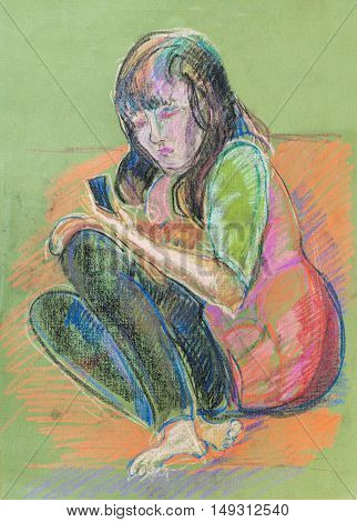 the portrait of girl playing  the game-boy