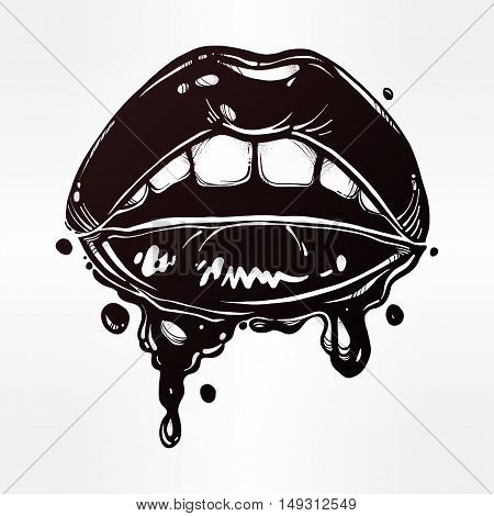 Sexy woman lips with dripping blood or make up. Fatal biting lips. Pop art comic art print in vintage flash tattoo style. Isolated vector illustration. 1990s inspired art.