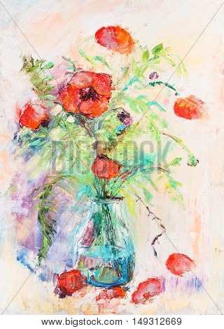 Bouquet of  Poppy flowers in  the glass vase