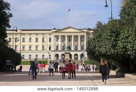 Oslo, Norway - September 16, 2016: Oslo  The Royal Palace On 16