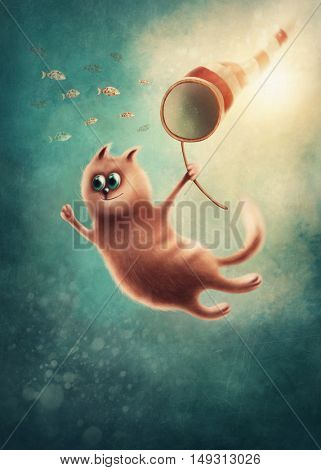 Red cat with butterfly net catching fishes