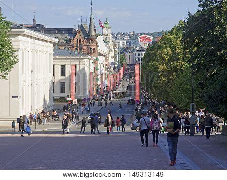 Oslo, Norway - September 16, 2016: Oslo  Karl Johans Gate On 16