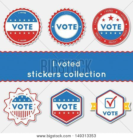 I Voted Stickers Collection. Buttons Set For Usa Presidential Elections 2016. Collection Of Blue And