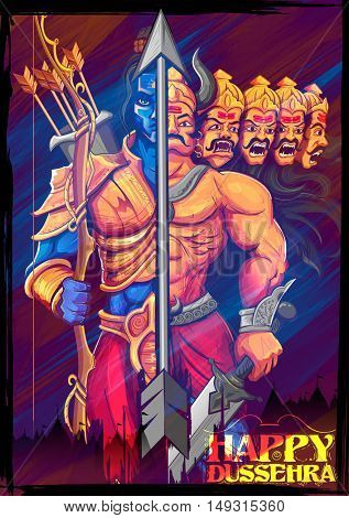 illustration of Lord Rama and Ravana in Dussehra Navratri festival of India poster