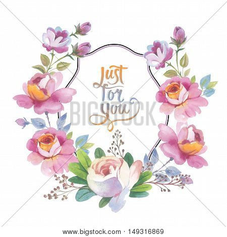 Wildflower rose flower frame in a watercolor style isolated. Full name of the plant: rose, hulthemia, rosa. Aquarelle flower could be used for background, texture, pattern, frame or border.