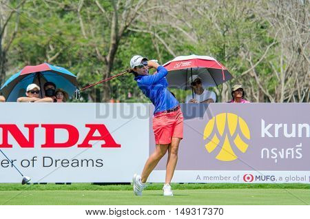 CHONBURI - FEBRUARY 28 : Carlota Ciganda of Spain in Honda LPGA Thailand 2016 at Siam Country Club Pattaya Old Course on February 28 2016 in Chonburi Thailand.