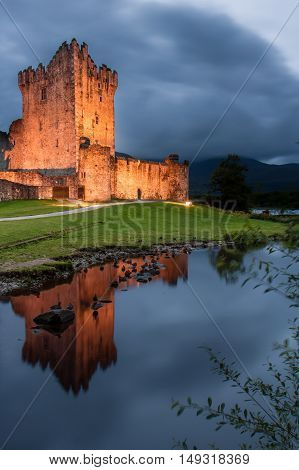 Ross castle at twilight in Killarney, Ireland