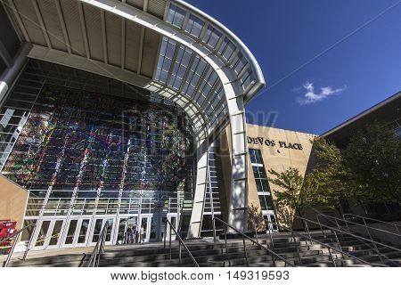 Grand Rapids, Michigan, USA - September 17, 2016: The riverside entrance and facade of the Devos Place Convention Center. The center hosts art exhibits, concerts, dance and seminars throughout the year.